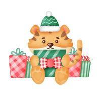cartão de Natal com tigre fofo e caixas de presente em estilo aquarela. vetor