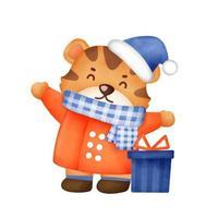 tigre bonito com elementos de Natal em estilo aquarela para cartão de ano novo. vetor