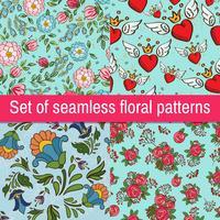 Conjunto de padrões sem costura na moda Vintage vetor