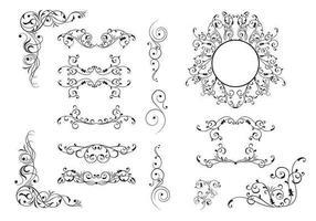 Pacote de vetores de ornamento de floreio 15