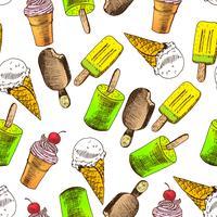 Doodle sorvete sem costura de fundo vetor