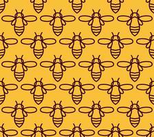 Padrão sem emenda com abelhas laranja no estilo Monoline.