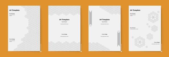 o design do modelo a4 é um hexágono cinza. brochura usada para apresentar negócios em gráficos digitais para a web. vetor