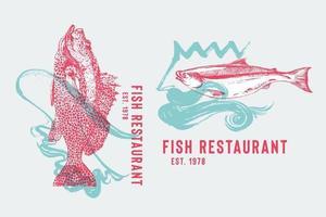 logotipo de restaurante de frutos do mar com garoupa dançando flamenco e salmão com neptuno. mão desenhada peixes por ondas de ilustração vetorial de saia de flamenco. dança espanhola e comida vetor