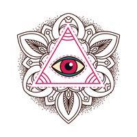 Símbolo de pirâmide de olho que tudo vê. vetor