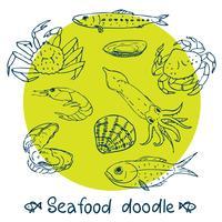 conjunto de frutos do mar de série de rabisco