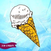 Sorvete de sorvete congelado esboço de estilo de sobremesa vetor