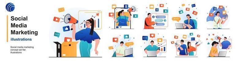 conjunto isolado de marketing de mídia social. promoção online, comunicação empresarial. coleção de pessoas de cenas em design plano. ilustração vetorial para blog, site, aplicativo móvel, materiais promocionais. vetor