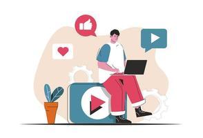 conceito de marketing de vídeo isolado. criação de conteúdo publicitário, promoção online. cena de pessoas no design plano dos desenhos animados. ilustração vetorial para blog, site, aplicativo móvel, materiais promocionais. vetor