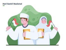 ilustração menino e menina muçulmanos comemoram o dia nacional de santri em 22 de outubro. feliz dia de santri. pode ser usado para cartão de felicitações, banner, cartaz, cartão postal, web, mídia social, impressão. vetor