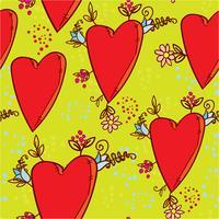Padrão sem emenda com corações e flores com um esboço de gráficos de estilo doodle
