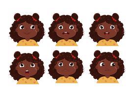 Menina com conjunto de adesivo de emoção de caráter de pele preta vetor