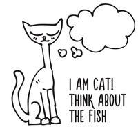 gato de desenho animado com balão de pensamento