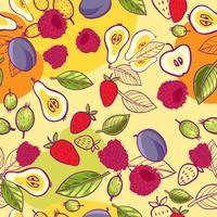 textura sem costura com bagas e frutos
