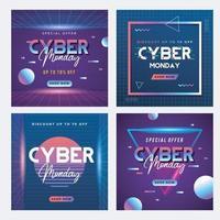 modelo de postagem de mídia social de venda cibernética segunda-feira vetor