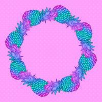 Grinalda de arte na moda criativa de abacaxi. vetor
