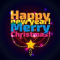 Inscrição feliz ano novo e natal, vetor
