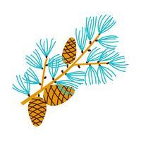 Filial de Natal de pinheiros com cones.