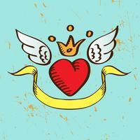 Coração vermelho voador com asas de coroa vetor