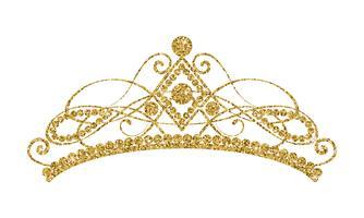 Diadema Brilhante. Tiara dourada isolada no fundo branco.