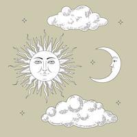 Definir coleções. Mão desenhada sol e a lua com nuvens e estrelas. Estilizado como gravura. Vetor