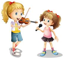 Menina, cantando, e, menina, jogando violino vetor