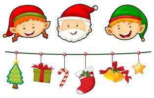 Natal conjunto com Papai Noel e elfo vetor