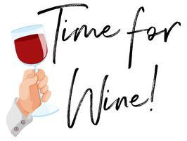 Hora do vinho com um copo de vinho tinto vetor