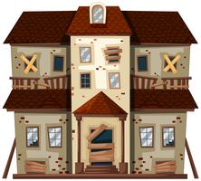 Casa antiga com janelas quebradas vetor