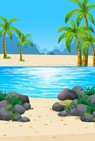 Cena com praia e oceano vetor