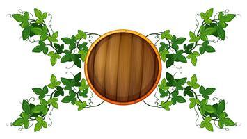 Modelo de etiqueta com escudo de madeira redondo e videira vetor