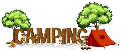 Design de fonte para a palavra camping com crianças e tenda vetor