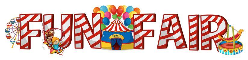 Design de fonte para a feira de diversões de palavra vetor