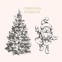 conjunto de natal e ano novo desenho ilustração árvore papai noel vetor