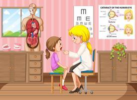 Doutor, examinando, menininha, em, clínica vetor