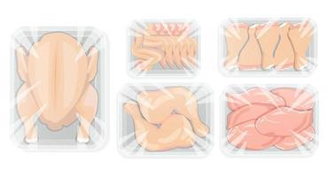 frango em embalagem de bandeja branca. frango inteiro e suas partes, peito, quateres de perna, filé estão em película aderente coberta com bandeja. ilustração vetorial. vetor