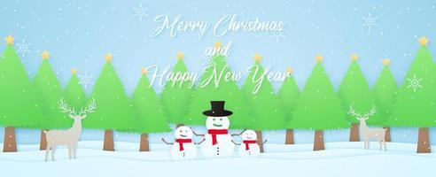 Feliz Natal e Feliz Ano Novo, paisagem de inverno, renas, boneco de neve e árvores de Natal na neve com neve caindo e flocos de neve, letras, estilo de arte em papel vetor