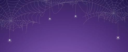 banner de teia de aranha de halloween com aranhas, fundo de teia de aranha vetor