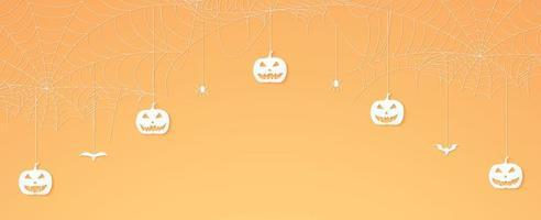 cabeça de abóbora de halloween, aranhas e morcegos pendurados, banner de teia de aranha, fundo de teia de aranha, espaço de cópia vetor