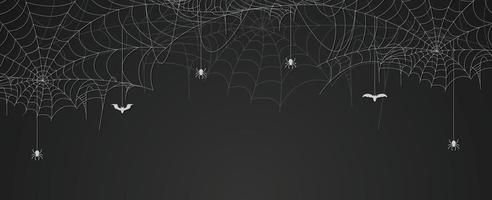 banner de teia de aranha com aranhas e morcegos pendurados, fundo de teia de aranha, espaço de cópia vetor
