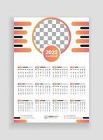 desenho de calendário de parede de uma página 2022. desenho de calendário de parede 2022. desenho de calendário de ano novo 2022. semana começa na segunda-feira. modelo para calendário anual 2022 vetor
