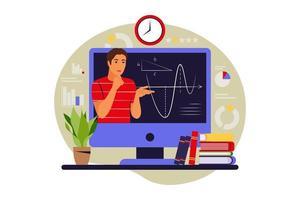 conceito de aprendizagem online. estudo a distância. ilustração vetorial. estilo simples. vetor