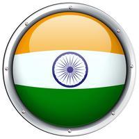 Bandeira da Índia no crachá redondo vetor