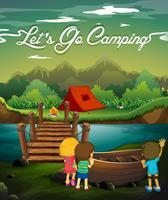 Cena, com, crianças, acampamento, por, rio vetor