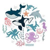 coleção de animais marinhos fofos, peixes e algas. ilustração vetorial em estilo simples desenhado à mão vetor