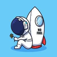 pequeno astronauta no céu com a lua e o foguete em um estilo fofo de ilustração de arte em linha vetor