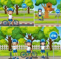 Crianças andando de bicicleta no parque vetor