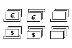 conjunto de ícones de depósito e retirada. ilustração vetorial vetor