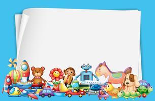 Design de papel com muitos brinquedos vetor