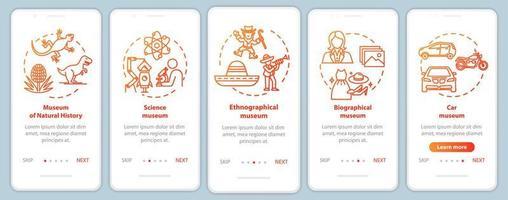 modelo de vetor de tela de página de aplicativo móvel de integração de exposição e museu
